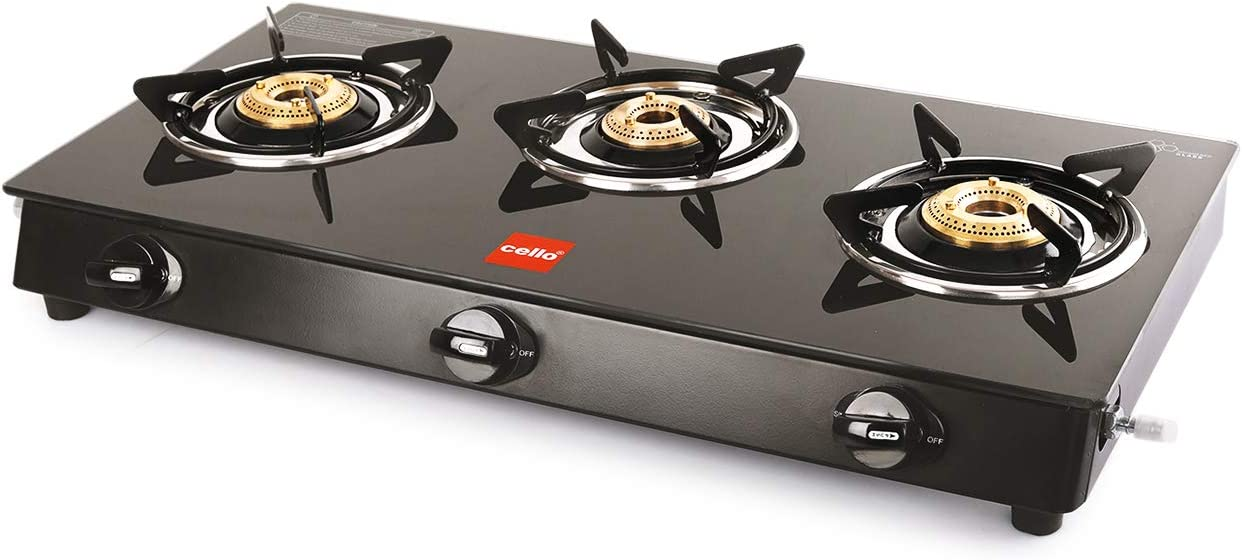 Cello Prima Gas Stove 3 Burner Glass Top, Black, ISI Certified