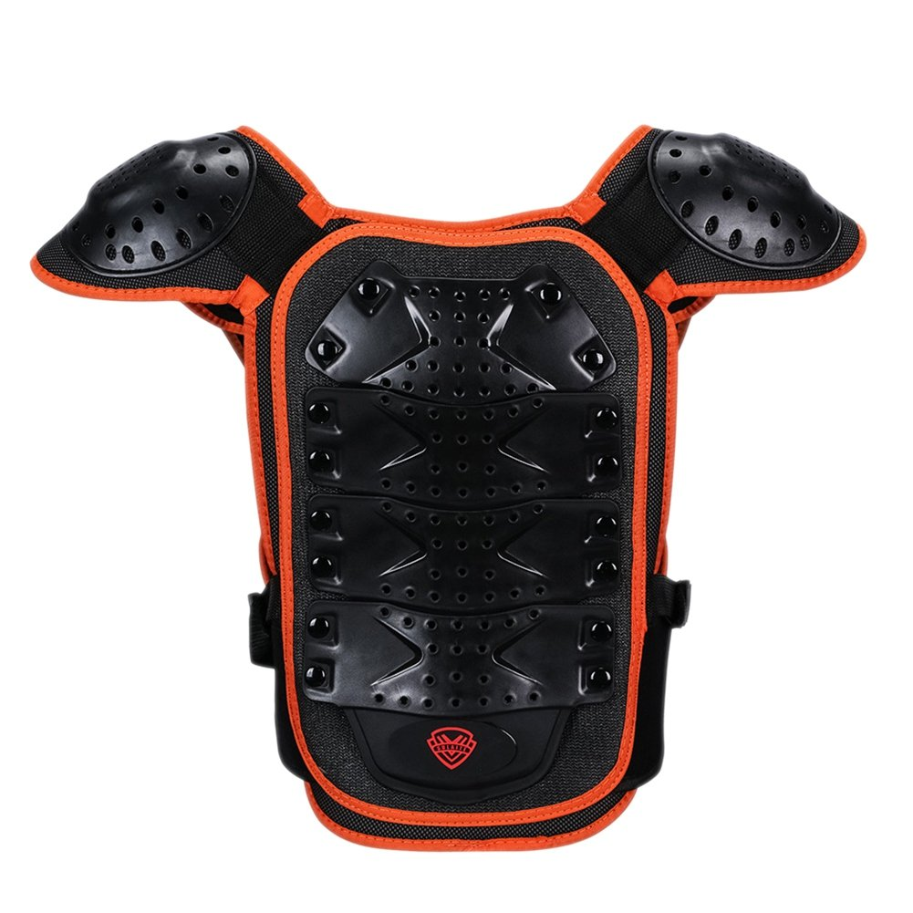 Ni/ños Respirable Reflexivo Ajustable Desmontable Protector Chaleco M, Naranja negro Aesy Chaleco de Protector Armadura para Al Aire Libre Motocicleta Ciclismo Patinaje Esquiar