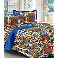 UniqChoice 100% Pure Cotton Jaipuri Traditional King Size Double Bedsheet with 2 Pillow Cover (Jaipuri BedSpreads)
