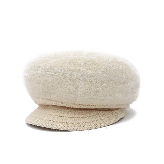 Corea Sra Otoño E Invierno Sombreros De Punto Además De Terciopelo Perlas Adelante Sombreros Gorras La Moda, Beige-AllCode: Amazon.es: Ropa y accesorios