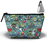 Hippie Hip Hop Trapezoid Pouches Cosmetic Makeup Bag Accessory Case Large Capacity For Couple