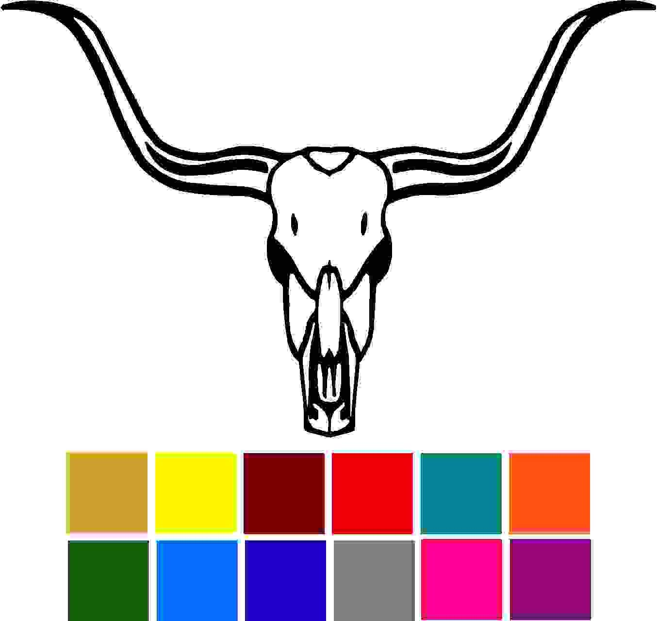 Bull Skull Large Horns Car Window Tumblers Wall Decal Sticker Vinyl Laptops Cellphones Phones Tablets Ipads Helmets Motorcycles Computer Towers V and T Gifts