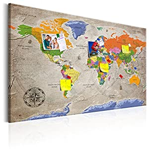 murando – Mapamundi con Tablero para Clavar chinchetas 90×60 cm – Cuadro en Lienzo sintético – Panel de Fibra – Mapa del Mundo Continente – k-A-0133-v-a