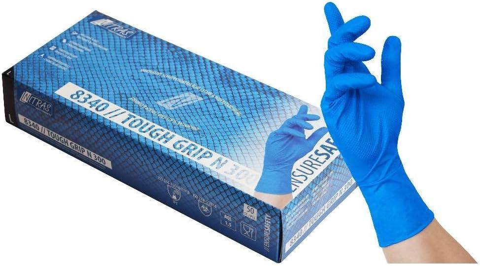 Nitras Einmalhandschuhe Nitril 8340 Tough Grip N 300 50 St/ück je Box L