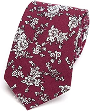 Zjuki corbata Corbata de algodón para Hombre Corbata de Flores ...