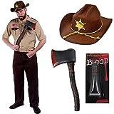 Déguisement du célèbre shérif chasseur de zombie de la série américaine avec la chemise + le pantalon + le chapeau + une hache + sang. Ideal pour les fêtes d'Halloween. ( Large )
