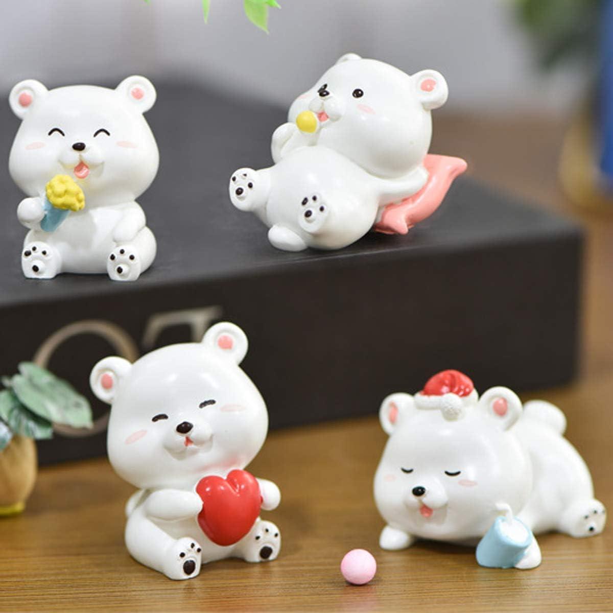 Ruzucoda Miniature Teddy Bear Figurines Animal Toys Figures Fairy Garden Cake Toppers Party Decorations Ornaments White 4 PCS