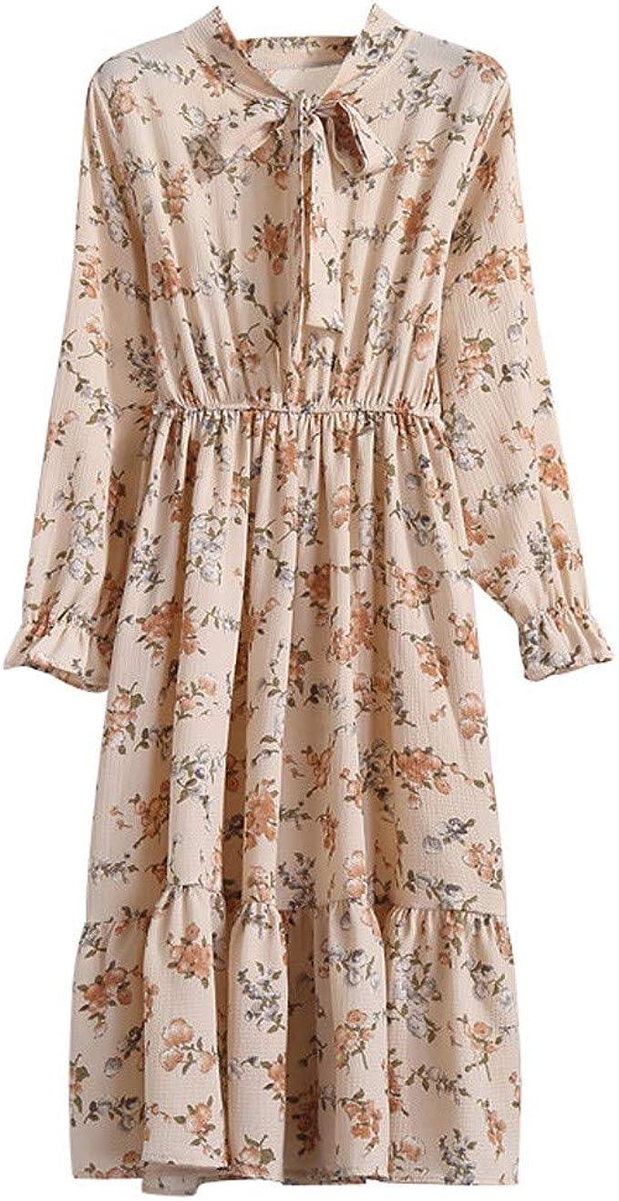 Xmiral Damen Kleid Floral Chiffon Langarm Druck Lässige Party Vintage Boho  Maxi Kleider