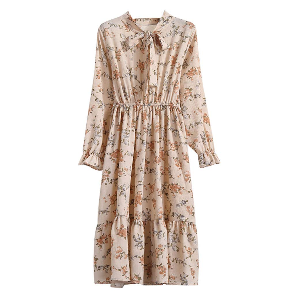 Hanican Women Elegant Floral Print Chiffon Dresses Vintage Bow Collar Long Sleeve Casual Slim Party Maxi Dress