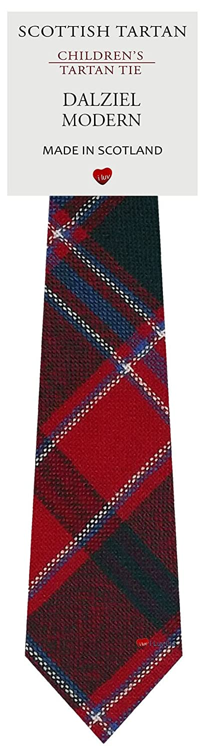Boys Clan Tie All Wool Woven in Scotland Dalziel Modern Tartan I Luv Ltd