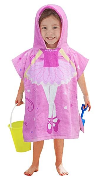 1fe2020a7ced1 Amazon.com : Little Mermaid 100% Cotton Hooded Towel for 2-6 Years Girls  Bath Beach Pool Towel, 24 x 48 inches (Dancing Girl) : Baby