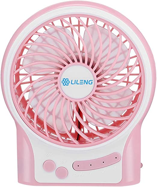 Rechargeable Battery Operated with 3 Speeds Portable USB Mini Fan