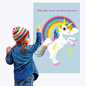 1pcs AerWo Pin The Horn on The Unicorn Party Games for Families with Kids Party Games Unicorn Rainbow Birthday Party Supplies