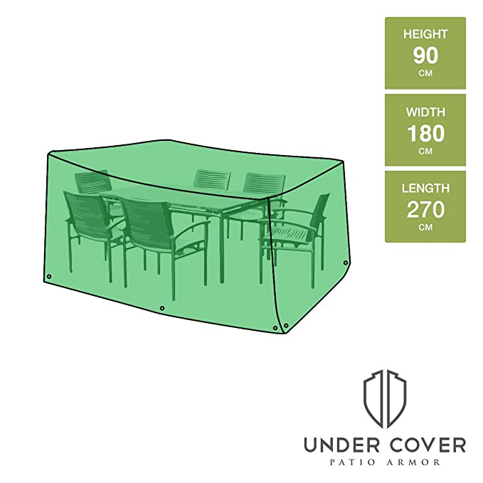 UNDER COVER PATIO ARMOR Patio Garden Furniture Table Set Cover Rectangular    6 Seat   270cm X 180cm X 90cm: Amazon.co.uk: Garden U0026 Outdoors