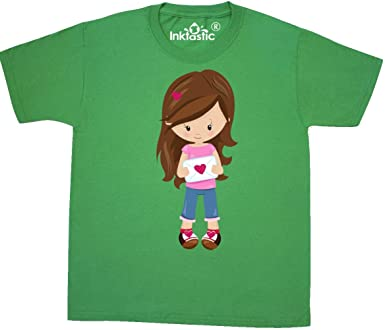 Girl in Love Toddler T-Shirt inktastic Valentines Day Girl Brown Hair