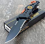 Tactical Knives TAC-FORCE KNIVES Assisted Opening Rescue Knives BLACK ORANGE EMT Tactical Knife (1 Knife)