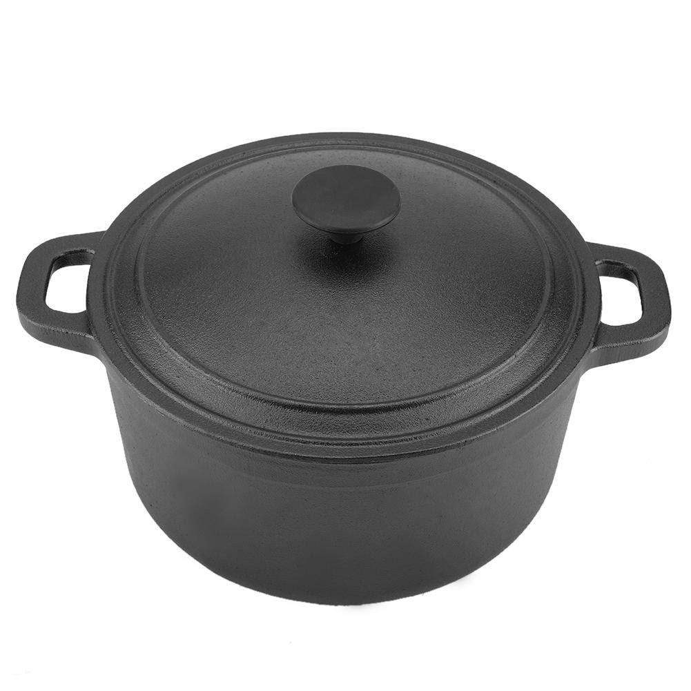 Portable Pre-Seasoned Non-Stick Cast Iron Serving Pot Cookware Oven for Outdoor Camping BBQ with Dual Handles