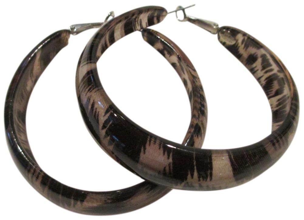 Kenneth Jay Lane Taupe/Black Animal Print Acrylic Large Hoop Pierced Earrings by Kenneth Jay Lane