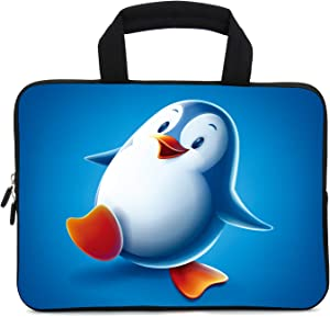 12 Inch Laptop Sleeve Carrying Bag Protective Case Neoprene Sleeve Tote Tablet Cover Notebook Briefcase Bag with Handle for Women Men(Penguin,12