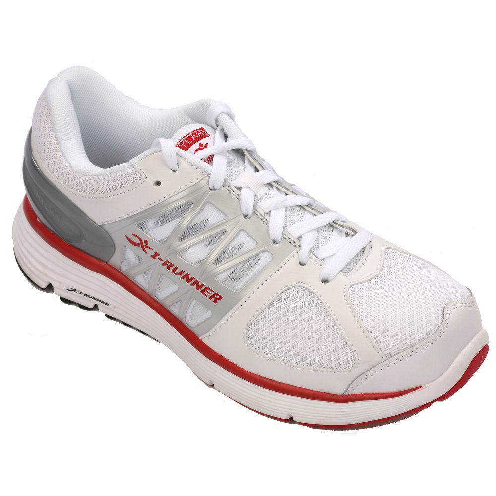 I-RUNNER Lincoln Men's Therapeutic Athletic Extra Depth Shoe leather/mesh lace-up -9.5 Medium (D) White/Red Lace US Men|White/Red