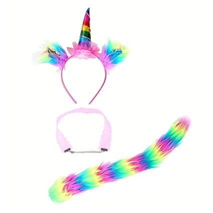 Buy Felizhouse Unicorn Headband With Cat Ears Choker   Tail Plush Cosplay  Costume Set (Rainbow) Online at Low Prices in India - Amazon.in f02a64f34d6