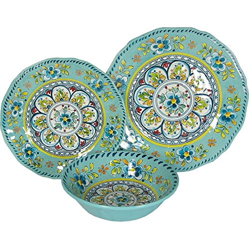 8 X Le Cadeaux Madrid Turquoise - 3 Piece Place Setting, 24 Piece Set by Le Cadeaux