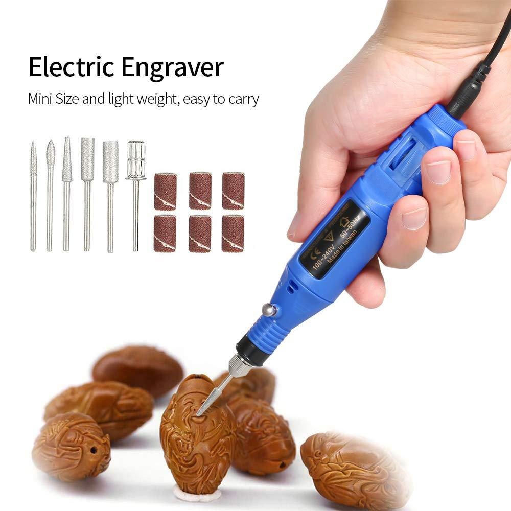 Festnight 14 pz 100 V-240 V Mini Electric Grinder Trapano Strumento Velocit/à Variabile Rotante Incisione Penna Carve Tool Set per la Lucidatura di fresatura