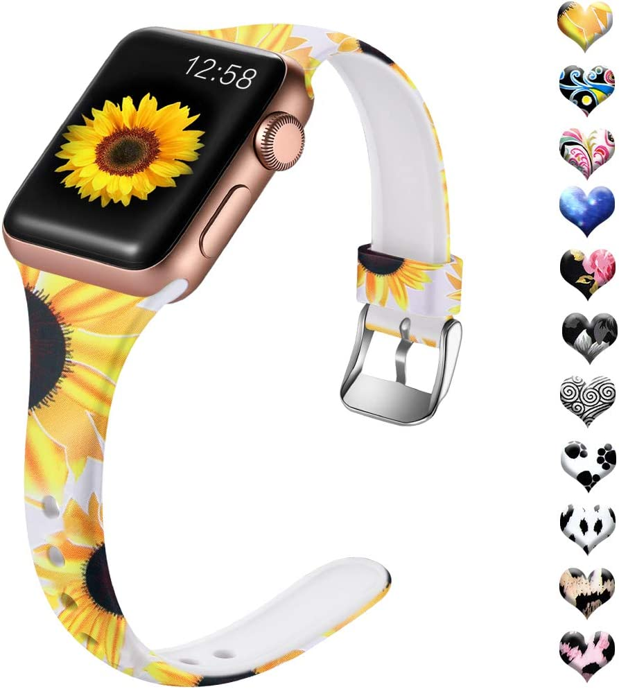 Henva Band Compatible with Apple Watch SE Band 40mm 38mm for Women, Fashion Silicone Thin Wristband with Print Pattern for iWatch Series 6/5, Series 4, Series 3, Series 2, Series 1, Sunflower Pattern, S/M