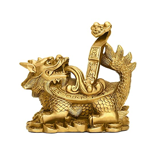 PopTop Brass 2.6 L Ruyi Feng Shui Longevity Dragon Turtle Tortoise Statue for Feng Shui Decor, Home Office Decor Figurine Gift Collection PTZY063 Large