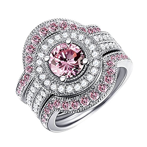 Pink Sapphire Set (Caperci 3 Piece Sterling Silver Round CZ & Created Pink Sapphire Bridal Engagement Wedding Ring Sets)