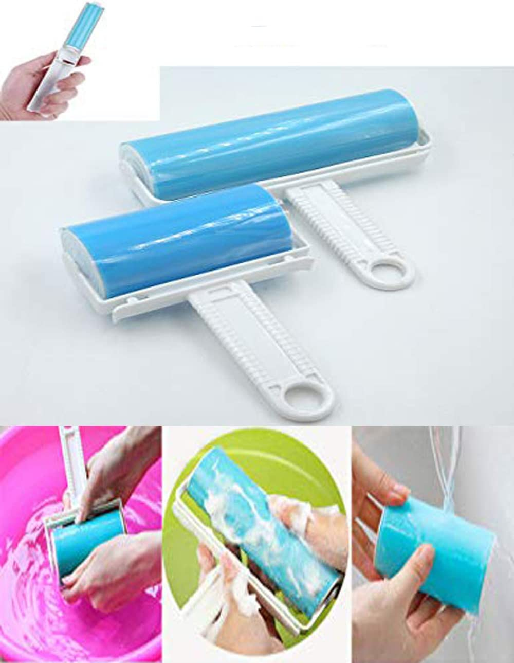 Reusable Washable Sticky Dust Clothes Lint Pet Hair Remover Roller Brush Proper