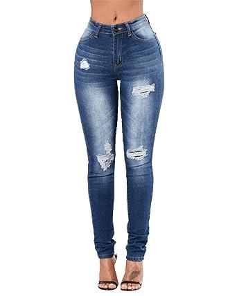 Femmes Pantalon Zhuikun Jeans Slim Trous Vintage Rétro Crayon Punk 5qd1Exdn