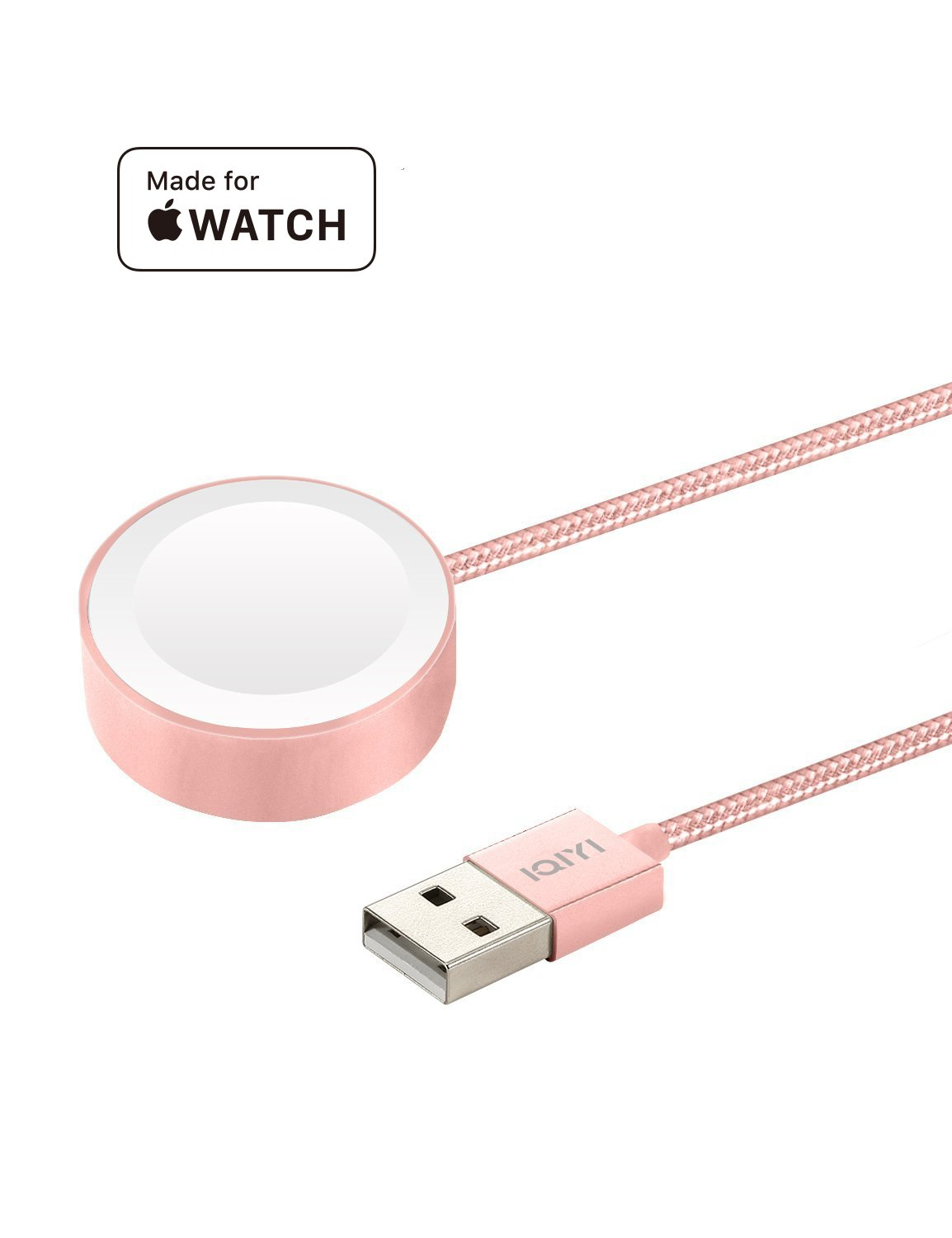 IQIYI [MFi Certified Apple Watch Charger, 3.3ft(1M) Nylon Braided Magnetic Charging Iwatch Cable Cord Scratch Resistant for Apple Watch/iWatch Series 1/2/3 (38mm & 42mm), Portable Charger Rose Gold