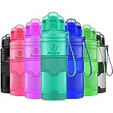 Botellas de Agua Prueba de Fugas Botellas Deportivas ecológicas Botellas Tritan sin BPA (Azul Claro, 32OZ-1000ML)