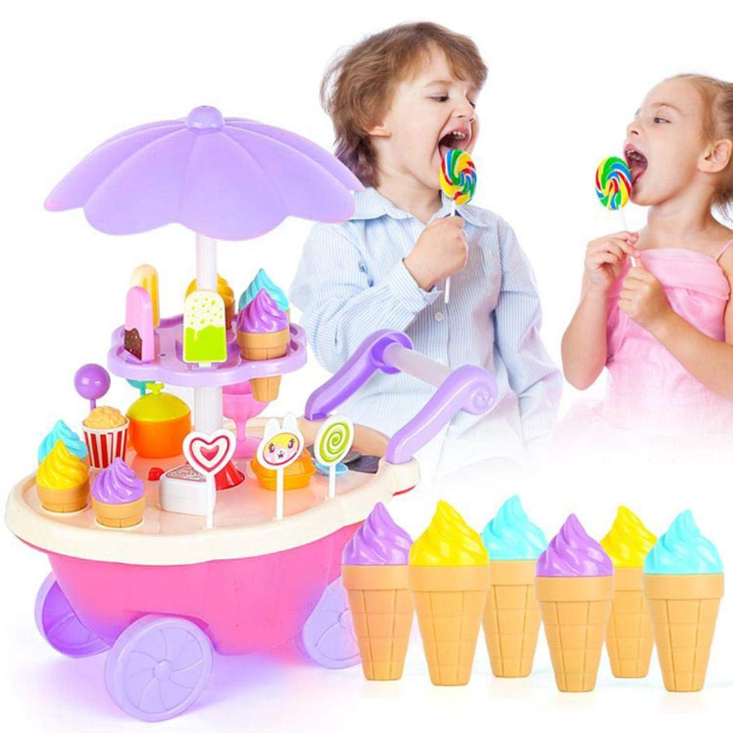 Weardear 28pcs/Set Kids Children Girls Ice Cream Cart Toy Set DIY Assembly 28pcs Kitchen Playsets