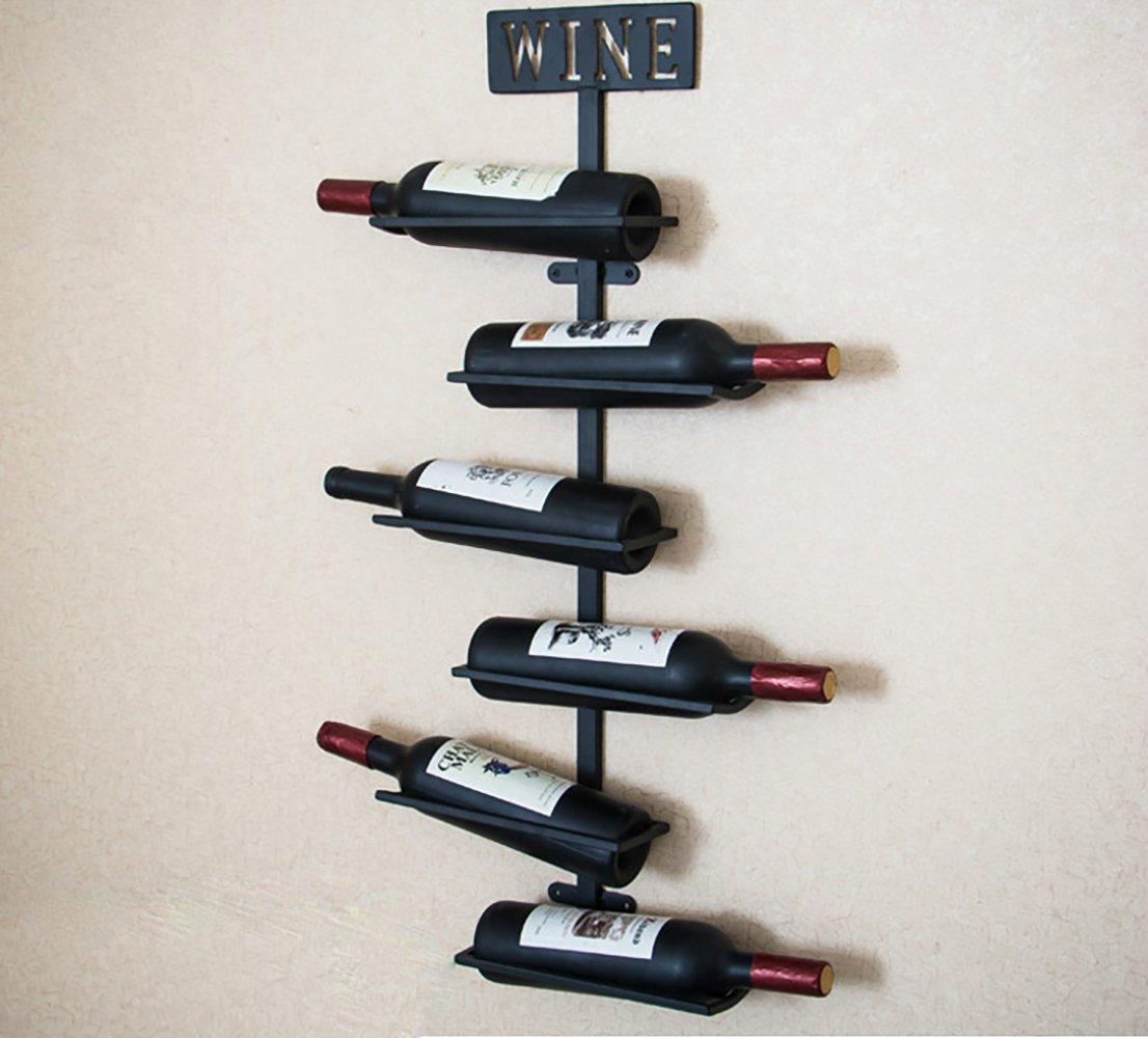 LINEX Wine Barrel Stave Hanging Wine Rack Handcarved 6 Bottle Barrel Stave Wooden Wall Mounted Wine Rack Wine bottle holder (Browm, 36'' X 8'' X 5'') (Antique Brass, 31.5'' X 9.8'' X 3.9'')