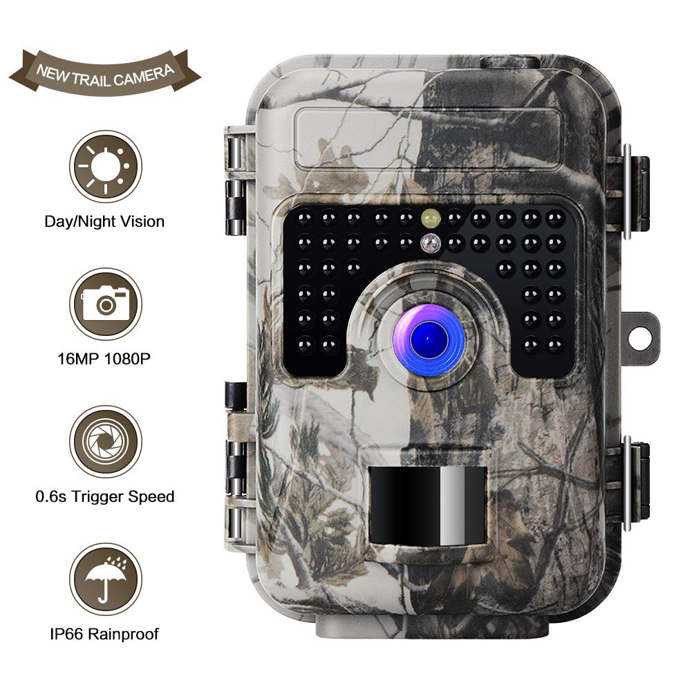 UncleHu Game Trail Camera with Night Vision Motion Activated, 1080P 16MP Scouting Cam Hunting Trap Cameras with Low Glow and Upgraded Waterproof IP66 for Outdoor Wildlife Watching
