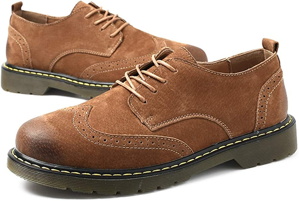 CHENJUAN Shoes Mens Fashion Oxford Casual Classic Carving Lace Up Faux Fleece Inside Brogue Shoes Conventional Optional