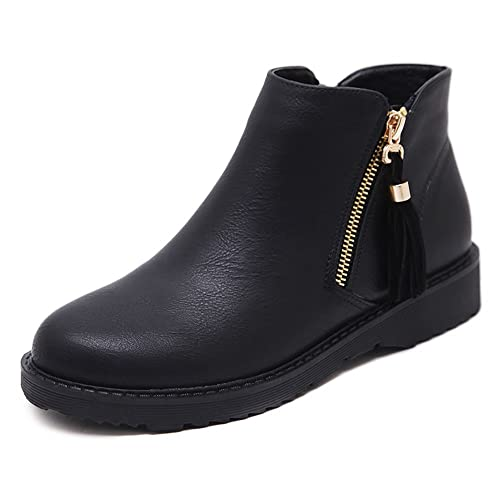 592aac6edbe27 Wollanlily Womens Low Heel Ankle Boots Zipper Leather Black Booties