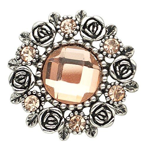 Lovmoment Flower Shape with Rhinestones Snap Interchangeable Jewelry - Orange Ginger Snap