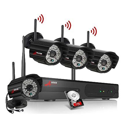 ANRAN Sistema de Seguridad WiFi Kit de Cámaras Inalámbricas de Vigilancia - 4CH 1080P NVR Disco
