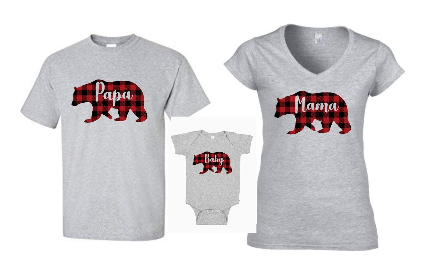 Buffalo Plaid Christmas Shirts Grey Mama Bear Baby Bear Papa Bear Family Shirts Gift For Mom Mama Bear Shirt
