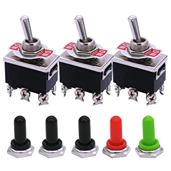 5 Pcs Red Toggle Switch  ON//ON 3 Position SPDT w Waterproof Cover Cap