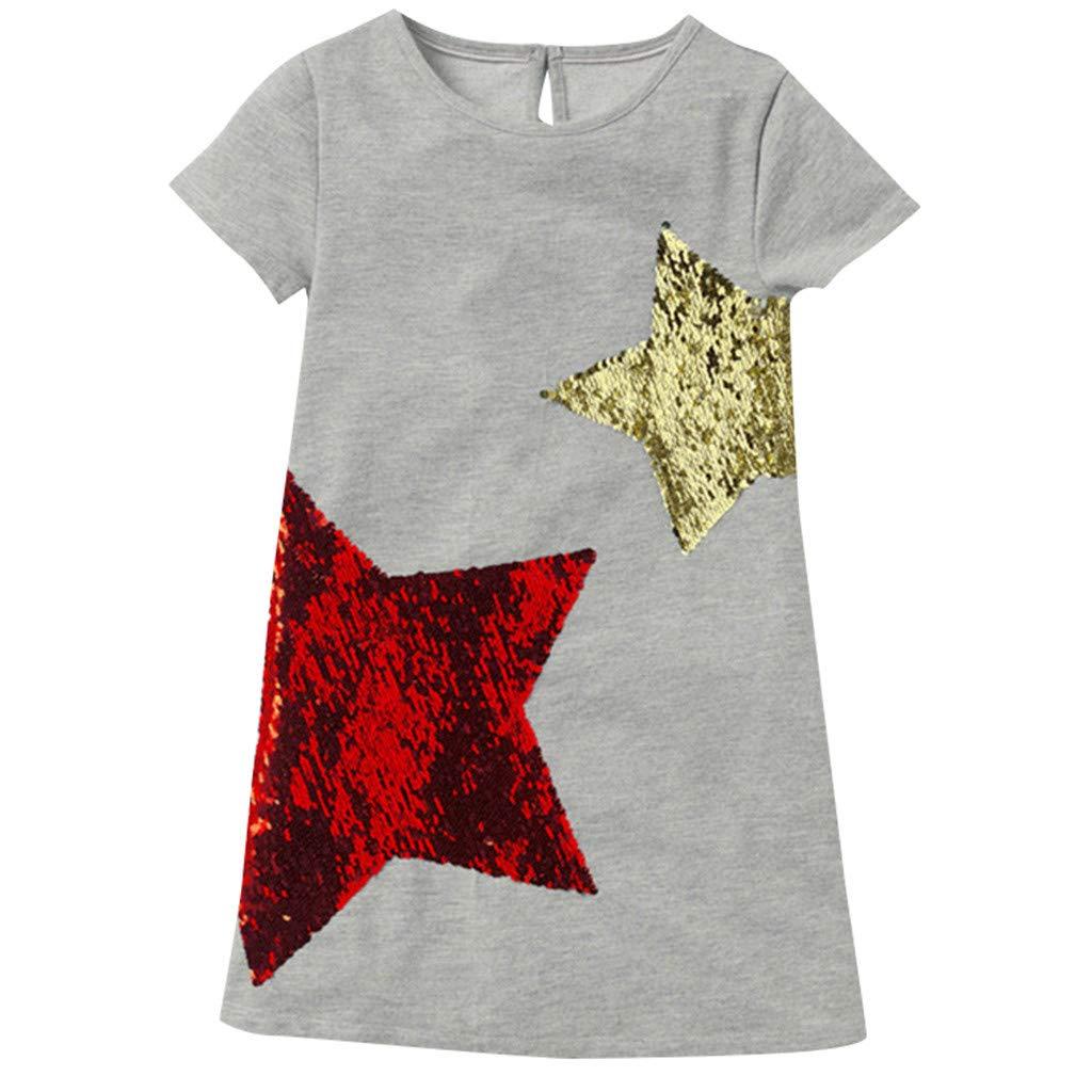 Baby Girl Tank Skirt,1-6 Years Childs Short Sleeve Dress Star Print Loose Casual t-Shirt Dresses (5-6 Years, Gray)