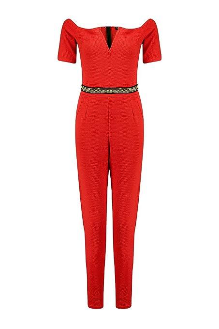 Damen Rot Lois Jumpsuit Mit Bardot-ausschnitt Und Goldapplikation - Rot - 8   Amazon.de  Bekleidung ac89644c73