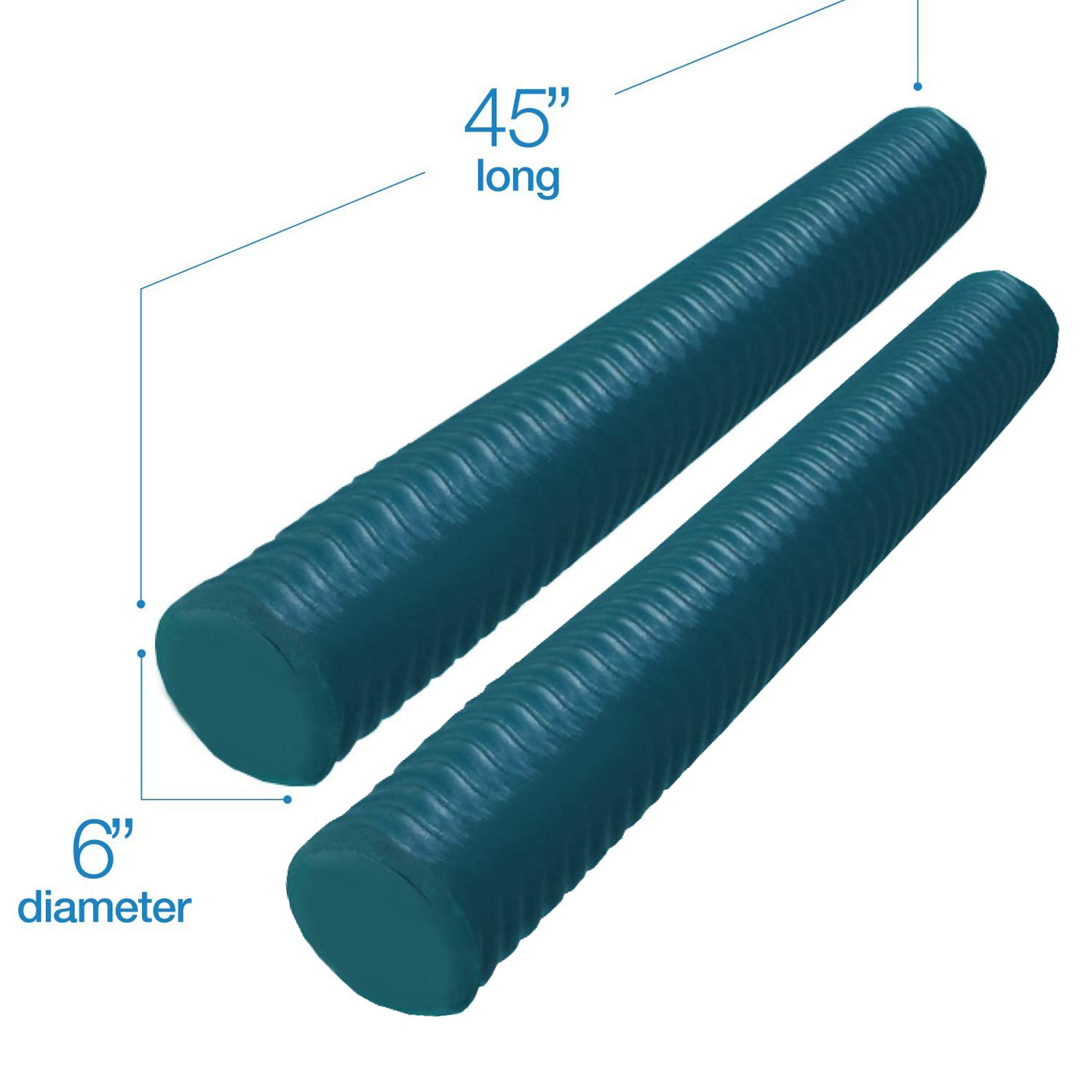 Lazy Floats Foam Pool Noodle Big Round Premium Outdoor Water Float (Teal, 2-Pack)
