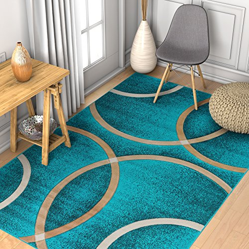 Circo Light Blue Modern Geometric Rings Circles Lines Hand Carved Modern Area Rug 5 x 7 Easy to Clean Stain Fade Resistant Contemporary Thick Soft Plush