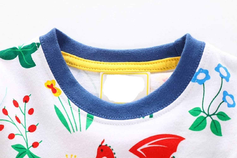 rosmall Little Girls Cartoon Dress Casual Cotton Long//Short Sleeve Tunic Dresses 2-7T