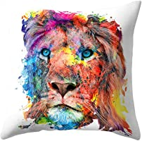 zdfYYkzdf 45x45cm Animals Pattern Square Throw Pillow Covers Cushion Case for Home Sofa Decor (11# Lion)