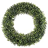 Pure Garden 50-150 Artificial Boxwood 19.5 inch Round Wreath